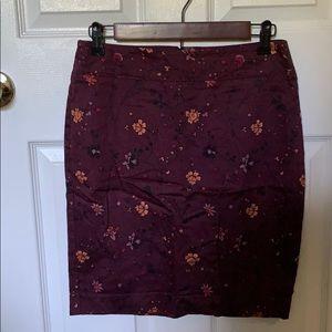 Loft purple floral pencil skirt